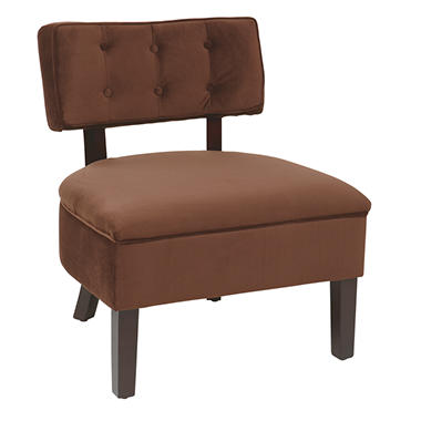 Avenue Six Curves Button Chair - Chocolate Velvet
