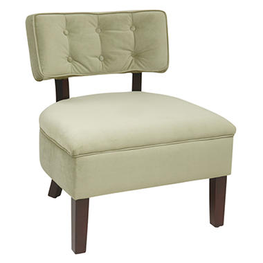 Avenue Six Curves Button Back Chair - Spring Green Velvet