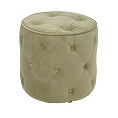 Avenue Six Curves Tufted Round Ottoman - Spring Green Velvet