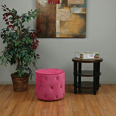 Avenue Six Curves Tufted Round Ottoman - Pink Velvet