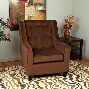 Avenue Six Curves Tufted Chair - Chocolate Velvet