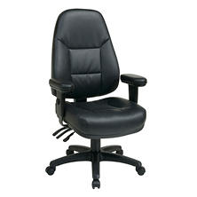 Office Star Work Smart Professional Dual-Function Ergonomic High-Back Leather Chair, Black
