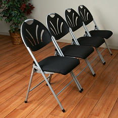 Work Smart Folding Chair with Plastic Fan Back and Fabric Seat - Silver and Black - 4 Pack