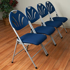 Work Smart Folding Chair with Plastic Fan Back and Fabric Seat - Silver and Blue - 4 Pack