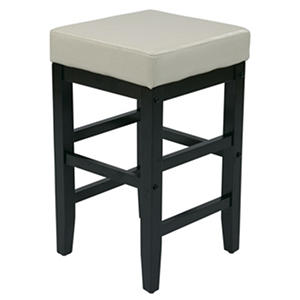 "25"" Metro Square Barstool - Cream Faux Leather with Espresso Legs"