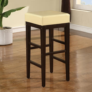 "30"" Metro Square Barstool - Cream Faux Leather with Espresso Legs"