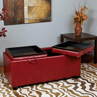 OSP Designs Metro Crimson Red Faux Leather Storage Ottoman with Reversible Dual Seat Cushions & Dual Wood Trays