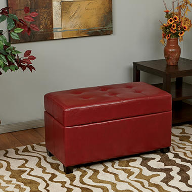 OSP Designs Metro Crimson Red Faux Leather Storage Ottoman/Chest