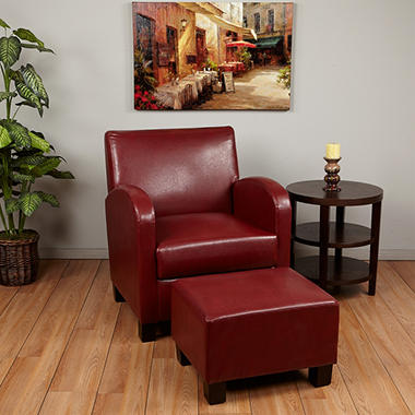 OSP Designs Metro Crimson Red Faux Leather Club Chair with Ottoman.