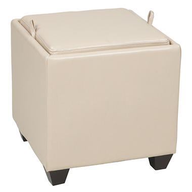 OSP Designs Metro Cream Faux Leather Storage Ottoman with Reversible Wood Tray & Seat Cushion