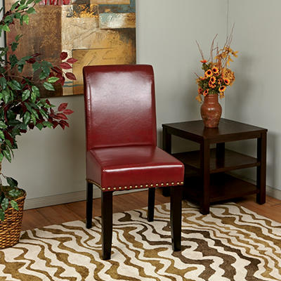 OSP Designs Parsons Dining Chair with Nail Heads - Crimson Red
