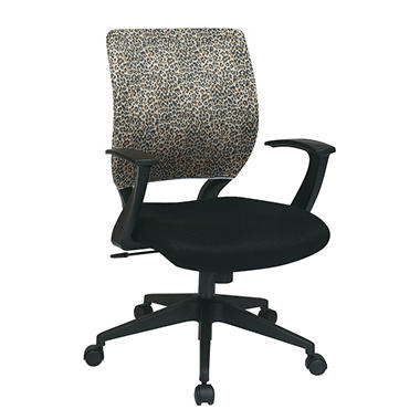 Office Star Mesh Chair Cover for Screen-Back Task Chair - Leopard Print
