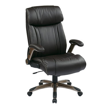 Work Smart Executive Eco Leather Chair - Cocoa/Espresso