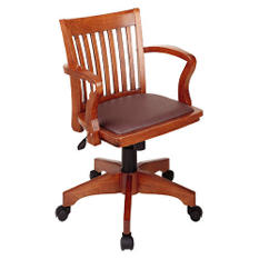Wood Bankers Desk Chair with Vinyl Padded Seat