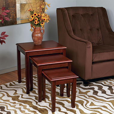 OSP Designs Merlot Collection Nesting Tables - Merlot Finish - 3 pc.