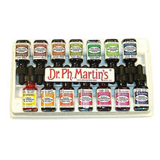 Dr. Martin's Radiant Concentrated Watercolor Paint Set - B, 1/2 Ounce Bottles, Assorted Aniline Colors, Set of 14
