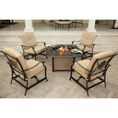 Traditions 5-Piece Seating Set with Cast-Top Fire Pit Table