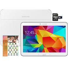 """10.1"""" Galaxy Tab 4 - 16GB White w/ 16GB microSD Memory Card, White Cover and Home App Suite Deluxe Software"""