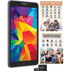 "7"" Samsung Galaxy Tab 4 - 8GB Black w/ 8GB microSD Memory Card, Family App Suite and Family Essentials App Pack Software"