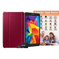 "8"" Samsung Galaxy Tab 4 - 16GB Black w/ Plum Red Cover, 8GB MicroSD Card and Family App Suite Software"