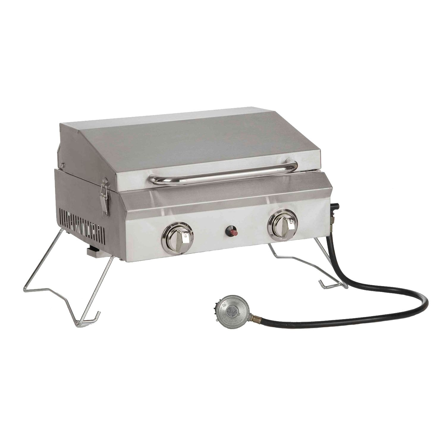 Sportsman s portable stainless steel gas grill with cover