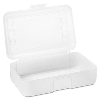 Advantus - Gem Polypropylene Pencil Box with Lid, Clear -  8 1/2 x 5 1/2 x 2 1/2