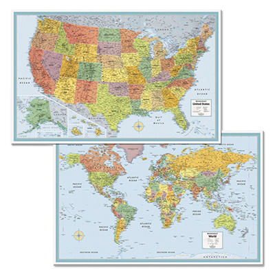 Rand McNally M-Series Full-Color U.S. and World Maps, Paper, 32 x 50