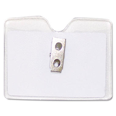Advantus Badge ID Holder, Horizontal w/Clip, 50/bx