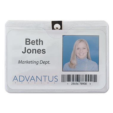 Advantus ID Badge Holder with Clip - Horizontal - 50 pk.