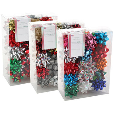 44 Count Stick-On Bows - 3 Assortment Options