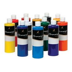 Chroma Chromacryl Premium Acrylic Paint, Pints, Assorted Colors, Set of 12