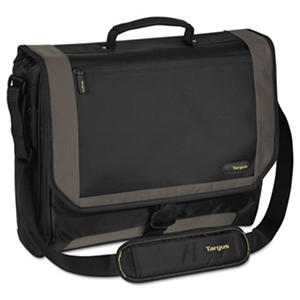 """Targus CityGear Miami Messenger Laptop Case, Nylon, 19"""" x 5"""" x 14"""" - Black/Gray/Yellow"""