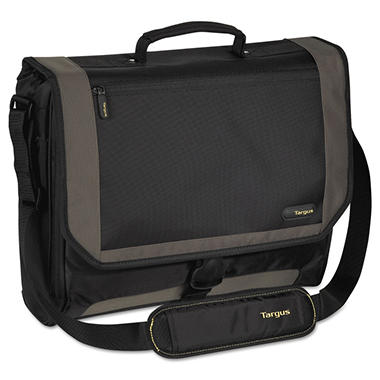 "Targus CityGear Miami Messenger Laptop Case, Nylon, 19"" x 5"" x 14"" - Black/Gray/Yellow"