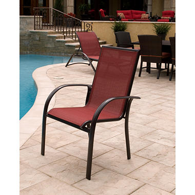 Aluminum Sling Stack Chair Red Sam s Club