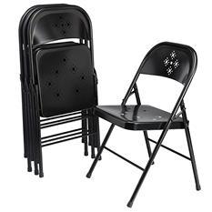 Shin Crest Decorative Metal Folding Chair Black