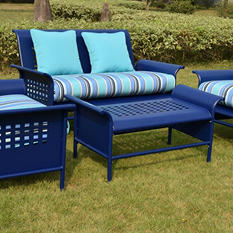 4-Piece Retro Conversation Set with Premium Sunbrella Fabric - Blue