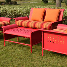 4-Piece Retro Conversation Set with Premium Sunbrella® Fabric - Red