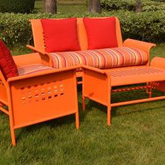 4-Piece Retro Conversation Set with Premium Sunbrella® Fabric - Orange