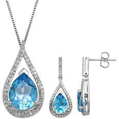 3.81 CT. Blue Topaz and 0.29 CT. T.W. Diamond Pendant and Earring Set in Sterling Silver