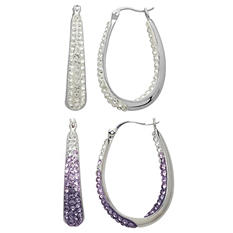 Purple and White Crystal Hoop Earrings Set in Sterling Silver