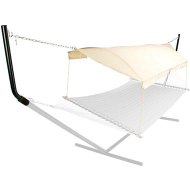 Natural Chambray Hammock Canopy - Black Poles