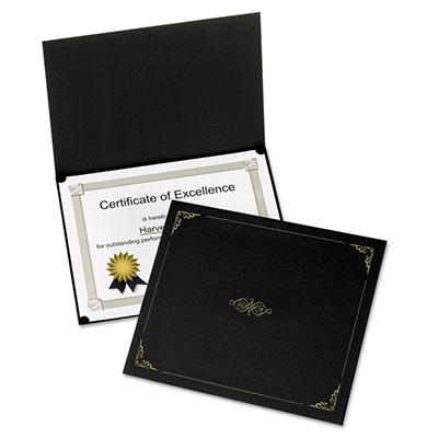 "Oxford Certificate Holder - 12 1/2"" x 9 3/4"" - Black - 5 Pack"