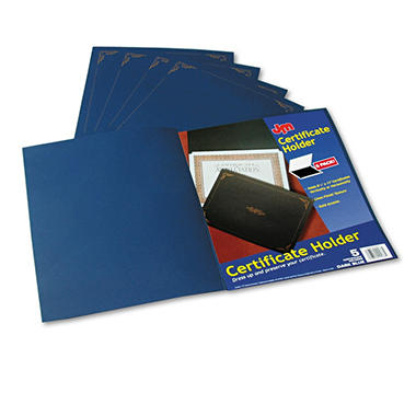 "Oxford Certificate Holder - 12 1/2"" x 9 3/4"" - Dark Blue - 5 ct."