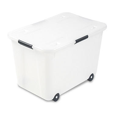 Advantus - Rolling Storage Box, Letter/Legal, 15-Gallon Size, Clear