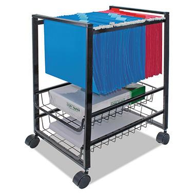 Advantus - Mobile File Cart w/Sliding Baskets, 15w x 12-7/8d x 20-7/8h -  Black