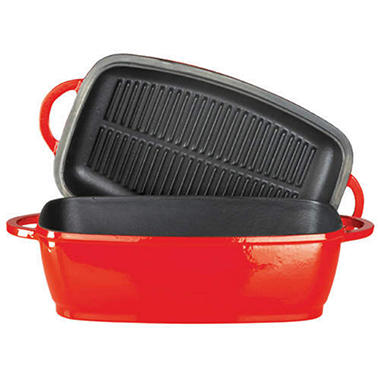 Cast Iron Rectangular Roaster - Red - 4.75 qt.