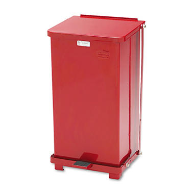 Rubbermaid Biohazard Heavy-Duty Steel Step Can - Red - 12 gal.