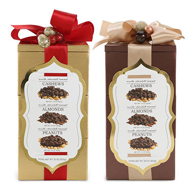 Chocolate Nut Tower - Red or Champagne Ribbon
