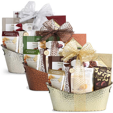 Gourmet Select Gift Basket - Silver, Gold or Copper