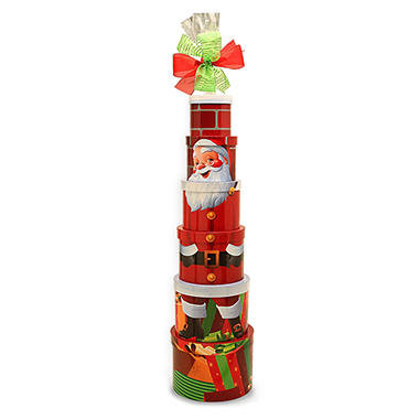 Large Character Tower Gift Basket - Santa Claus
